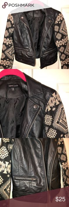 Faux Leather Cropped Jacket w/ Printed Sleeves Faux leather cropped jacket with printed sleeves. Juniors size Small. Great condition. Brand: New Look New Look Jackets & Coats