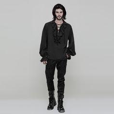 Weites schwarzes Rüschenhemd Squire mit Schnürung