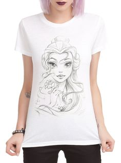 Disney Beauty And The Beast Belle Sketch Girls T-Shirt | Hot Topic