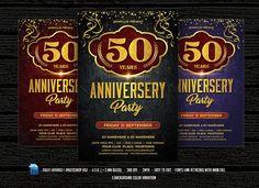 Anniversary Party Flyer by DesignWorkz on @creativemarket