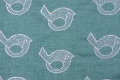 Sample of Claridge Tweeky Embroidered Linen Blend Decorator Fabric in Carribean   From Fabric Guru online