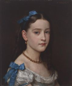 """William-Adolphe BOUGUEREAU: """"Portrait of Mademoiselle Martha Hoskier"""",1869, oil on canvas, Dimensions: overall: 18 1/8 x 15 1/8 in. (46 x 38.4 cm) frame: 26 7/8 x 23 7/8 x 3 1/2 in. (68.3 x 60.6 x 8.9 cm), Current Location: Santa Barbara Museum of Art"""