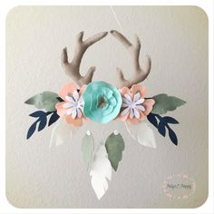 Baby Mobile - Boho Baby Mobile - Tribal Antler and Floral Nursery Decor - Baby Girl Mobile - Peach and Gold Feather Wall Decor by PaigeAndPoppy on Etsy https://www.etsy.com/listing/252275350/baby-mobile-boho-baby-mobile-tribal
