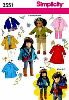 18 inch Doll Coat Pattern 18 inch Doll Clothes Pattern by blue510