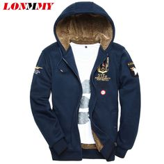 LONMMY M-3XL 2017 Winter Bomber jacket male Velvet Thick Air force 1 coats mens hoodies and sweatshirts Army tracksuits for men