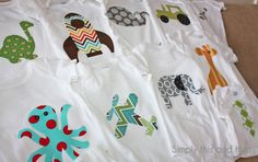 Fabric Applique Onesies using Heat n Bond Ultrahold for a no sew project