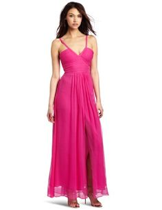 BCBGMAXAZRIA Women's Hall Long Strap Detail Gown in Light Fuchsia Red Homecoming Dresses, Best Prom Dresses, Dresses 2013, Bridesmaid Dresses, Formal Dresses, Wedding Dresses, Bcbgmaxazria Dresses, Dress Collection, Evening Gowns