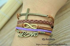 Wish cross  bracelet  Love bracelet  Infinity by Richardwu on Etsy, $5.99