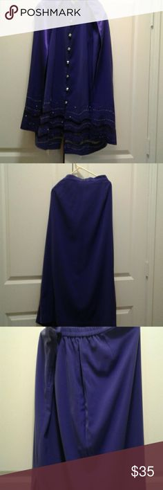 "Beautiful three piece  suit no missing rhinestones Comes with  a matching  shawl.skirt Is 33"" inches long. At one time the skirt  was take  up in the side was worn  very little. A1 shape Natasha  Other"