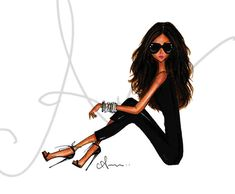 Fashion Illustration Print Black is the New Black by anumt on Etsy