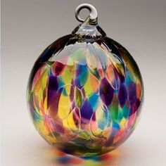 Mt. St. Helens Ash Hand Blown Glass Ornament - Rainbow Chip - 3'' diameter