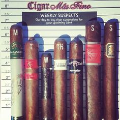 #WeeklySuspects: @Cigar Mas Fino's day-to-day #cigar selection for this coming week. Come and get'em! @H Upmann, @rockypatelcigar, @Camacho Cigars, @Sam Leccia, @surrogatescigars, @CAO Cigars and @Drew Estate Cigars #nowsmoking #stogies #cigaroftheday #cigarporn #cigars #cigarsnob #cigarlovers #cigaraficionado #cigaraddict #cigartime #cigarlife #cigarians #cigarphoto #cigarmoment #cigarsociety #cigarobsession