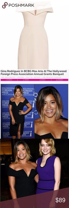 Celebrities Dress - BCBG Off-The-Shoulder Dress * BCBGMaxAzria Marquis Off-The-Shoulder Dress * Split V-neckline with a pleated skirt and a flirty side slit * Celebrities fashion choices: Gina Rodriguez wore the dress (black) at The Hollywood Foreign Press Association Annual Grants Banquet & Supermodel     Ashley Graham wore the same style in fashion event. * Concealed back zipper closure * Fabric: 90% polyester, 10% spandex crepe; lining: 100% polyester crepe de chine * Bare Pink  * Perfect…