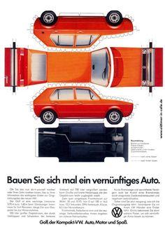 One Sheet cut'nFold-Volkswagen Golf Volkswagen Golf Mk1, Paper Model Car, Paper Car, Paper Models, Wolkswagen Golf, Golf Mk2, Vw Mk1 Rabbit, Porsche, Audi