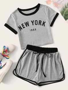 Letter Print Contrast Binding Tee With Track Shorts Source by ohirthestanton tween outfits for summer Girls Fashion Clothes, Teen Fashion Outfits, Outfits For Teens, Tween Fashion, Emo Outfits, Lolita Fashion, Matching Outfits, Emo Fashion, Gothic Fashion