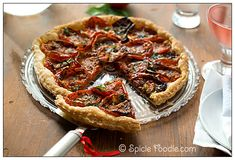 Tomato; Tomatoes; Recipe; How To Roast Tomatoes; Spicie Foodie; Roasted tomatoes; oven roasted; tomato recipes; oven roasted tomatoes; tomato tart; no eggs; basil; baked; savory; parmesan; pie crust; galette; crostata; pie