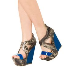 Snake print and Blue Wedges| JustFab.com