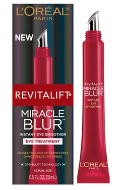 L'Oreal Revitalift Miracle Blur Eye. Instant eye smoother. Erases the look of crows feet, lines and bags. Eye awakening results without the wait. And in just four weeks, reduces the appear of dark circles.