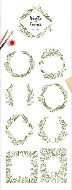Christmas watercolor set by Kate Macate on @creativemarket Trendy graphic design art for a merry christmas, perfect for decorations, crafts, pictures, gifts, DIY, cards or simple for ideas and inspiration.