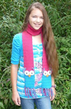 Crochet Owl Scarf Pattern 5yrs to Adult by CelebrateLifeCrafts, $4.95