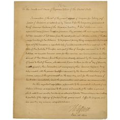 Message from President Jefferson to Congress Regarding the Louisiana Purchase