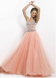 Charming Tulle A-line Halter Neckline Natural  Waistline Prom Dress With Beadings and Rhinestones