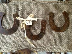 Rustic Horseshoe Wedding Decoration DIY Favor by ShermanandBenson