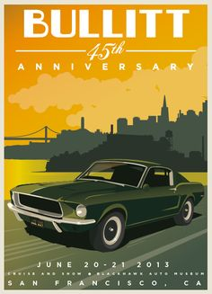 The famed 1968 Ford Mustang 390 Fastback in a movie poster for the cult film Bullitt. Ford Mustang Gt, Mustang Bullitt, Mustang Fastback, Classic Trucks, Classic Cars, Chevy Classic, Bullitt Movie, Steve Mcqueen Bullitt, Car Posters