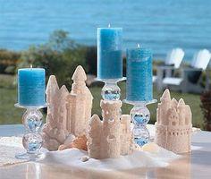little sand castle centerpieces, cute but a little to childish