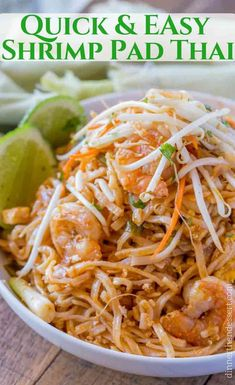Easy Pad Thai with Shrimp, tofu, rice noodles, and peanuts in a quick sauce made from fish sauce, sugar, crushed red pepper and vinegar in less than 30 minutes. Skip the delivery!