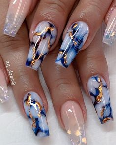 25 Marble Nail Design with Water & Nail Polish 25 Marmornagel Design mit Wasser & Nagellack Cute Acrylic Nail Designs, Marble Nail Designs, Marble Nail Art, Best Acrylic Nails, Summer Acrylic Nails, Nail Art Designs, Nails Design, Nail Summer, Long Nail Designs