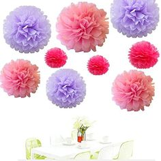 Since18Pcs of 8 10 14 3 Colors Mixed Lavender Pink Fuchsia Tissue Paper FlowersTissue Paper Pom PomsWedding Party DecorPom Pom FlowersTissue Paper Flowers KitPom Poms CraftPom Poms Decor ** Find out more about the great product at the image link.Note:It is affiliate link to Amazon.