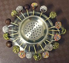 Use a colander to hold cake pops or homemade candies while the frosting sets or chocolates harden.