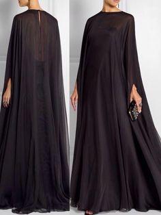 Dentro do estilo capa dresses 2019 cape Abaya Fashion, Muslim Fashion, Modest Fashion, Fashion Dresses, Steampunk Fashion, Gothic Fashion, Fashion Clothes, Cheap Evening Dresses, Prom Dresses