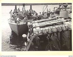 AT SEA. 1944-11-12. USN PATROL TORPEDO BOAT 227 PREPARING TO BE TOWED BY HMAS STAWELL. Brown Water Navy, Pt Boat, Us Navy Ships, United States Navy, Mtb, Wwii, Military, India, Warriors