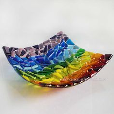 Fused Glass Jewelry | Art Fused Glass Bowl RAINBOW fusing