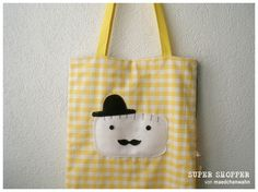 cute yellow tote bag - mister moustache € 27,50