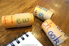 Phonics practice with Word Rolls.  Clever way to use wrapping paper tubes!