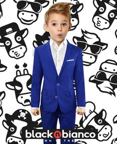 Black n Bianco Boys' First Class Blue Slim Fit Three Piece Suit Wedding Outfit For Boys, Boys Wedding Suits, Navy Slim Fit Suit, Three Piece Suit, 3 Piece, Kids Suits, Red Suit, Fitted Suit, Boy Outfits