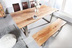 Massiver Baumstamm Tisch MAMMUT Akazie Massivholz Industrial Chic  Kufengestell Mit Dicker Tischplatte   Back To Nature   Dieser Tisch  Begeistert Entdecken ...