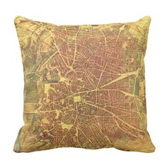 Vintage Map of Madrid Spain (1656) Throw Pillow