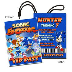 Sonic the Hedgehog Sonic Inspired landyard.  We can give this as the invite, but have them wear it too...