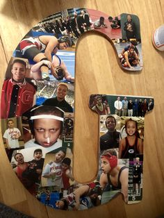 Senior gift for wrestlers. photos of their wrestling career. Modge Podged onto a wooden letter. School name or students initial. Great for senior night, end of year banquet or graduation party. Senior Pictures Sports, Senior Photos, Coaches Wife, Senior Night Gifts, Wrestling Team, I Love Basketball, Sports Mom, Sweet 16 Birthday, Bottle Painting