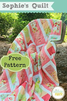 Southern Fabric: Sophie's Quilt - Free Quilt Pattern // uses 4 charm packs for 64 x 74 quilt
