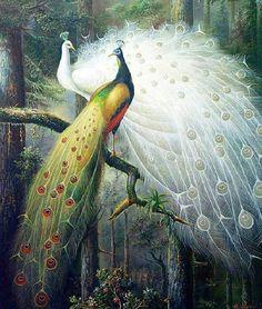 歐式客廳孔雀情侶十字繡畫小豎版精准印花十字繡孔雀開屏系列新款