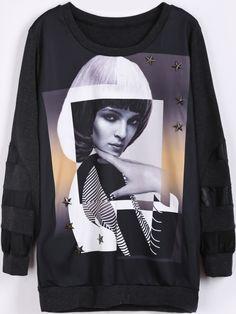 Black Long Sleeve Stars Rivet Beauty Print Sweatshirt US$31.64