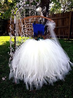 Peacock Tulle Tutu Dress w/Headband-Ivory Tulle Tutu with Blue Crochet Top and Three Peacock Feathers-Headband Included on Etsy, $98.99