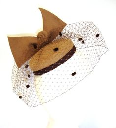 Camel felt pillbox hat with veiling. by FeathersBows on Etsy, £86.00