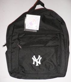 MLB Baseball New York Yankees Black Neoprene Backpack Bookbag by MLB. $4.81. Show your team spirit with this New York Yankees Branded Back Pack! Elegant black is the background for the famous white NY embroidered logo on this perfect sized recepticle that will accomodate almost anything you can throw in it!