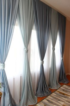 """FREE Shipping - Inverted Pleated Voile Drapery """"Blue"""", Window Sheers, Sheer Curtains, Drapes, Made-to-Order"""
